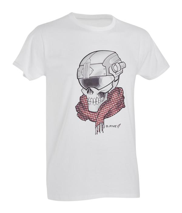 D.FIVE T-SHIRT WITH FRONT CHEST SKULL WITH HELMET IMAGE