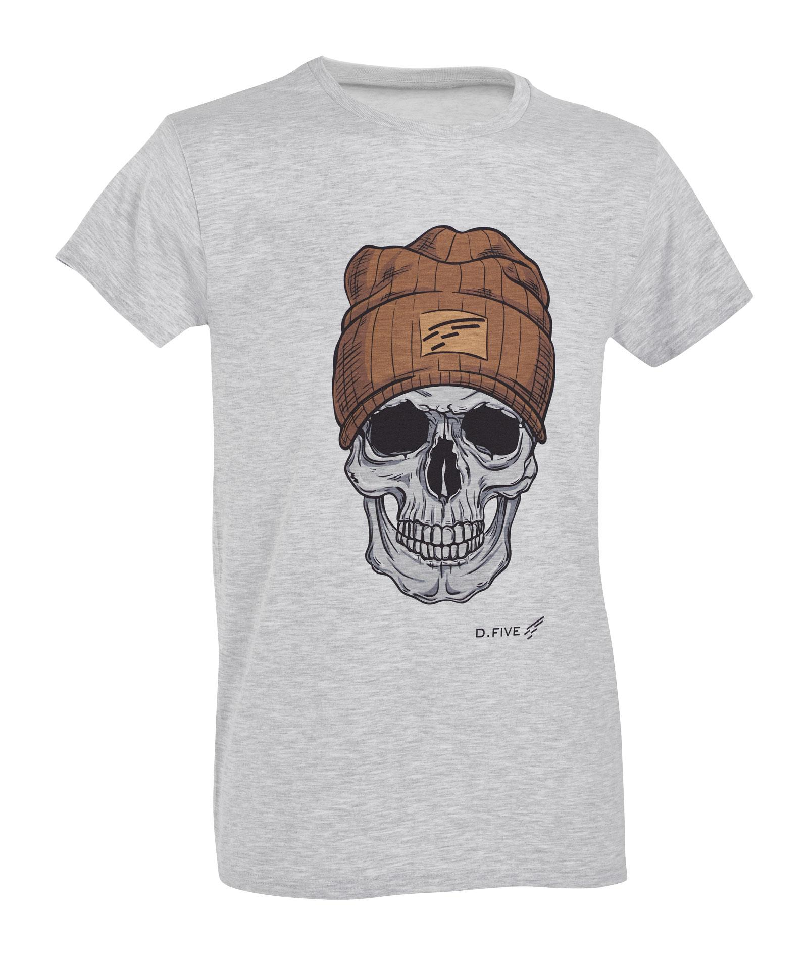 D.FIVE T-SHIRT WITH FRONT CHEST SKULL WITH WOOL CAP IMAGE