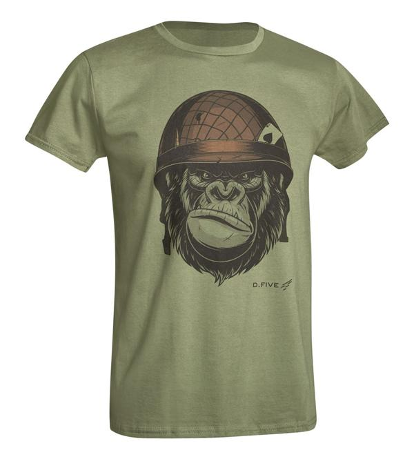 D.FIVE T-SHIRT WITH FRONT CHEST MONKEY WITH HELMET